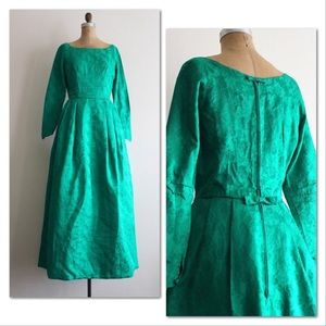 Vintage 1960s gown, emerald green rose brocade